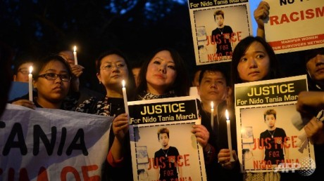Northeast students protest against racism in New Delhi