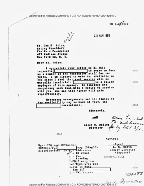 This CIA document clearly establishes how the CIA loans officers to the Ford Foundation.