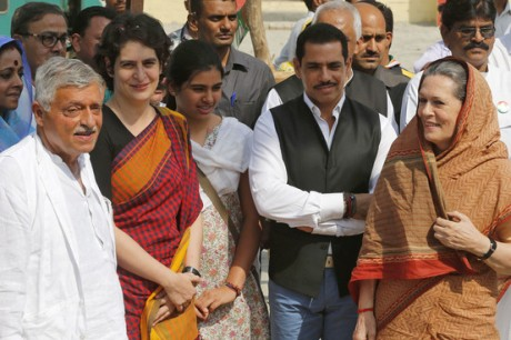 Gandhi Clan: Robert Vadra is in the black vest.