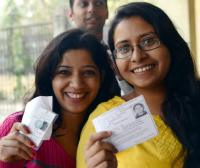 Two first-time voters in New Delhi