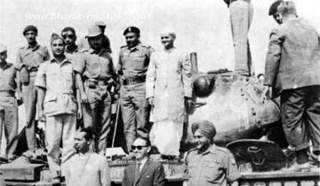 Indian PM Shastri atop a captured Pakistani tank 1965