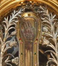 Francis Xavier's mummified hand kept in Il Gesù Cathedral, Rome