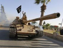 ISIS tank on parade in Raqqa