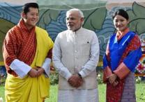 Narendra Modi with Bhutans king and queen