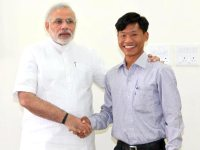 Narendra Modi with his Nepalese godson Jeet Bahadur