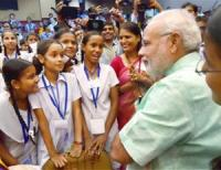 Modi with students on Teacher's Day