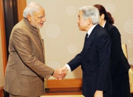 Narendra Modi with Japanese Emperor Akihito