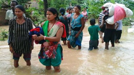 Nepalese women search for higher ground in flooded Bardia