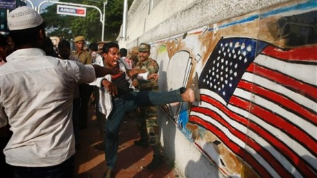 Muslim rioters outside the US Consulate, Chennai ( September 15, 2012)