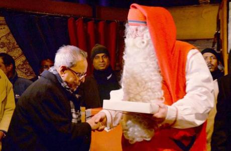 Pranab Mukherjee & Santa Claus