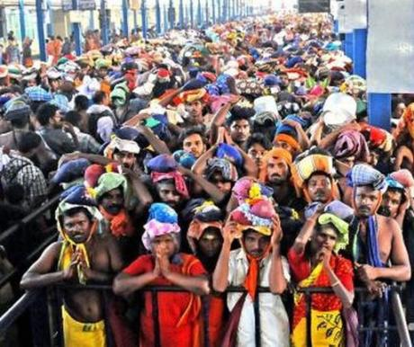 Men and women pilgrims at Sabarimala