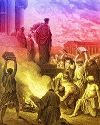Paul burning books at Ephesus