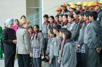The Prime Minister, Dr. Manmohan Singh and the German Chancellor, Ms. Angela Merkel interacting with the Kendriya Vidyalaya students and teachers from India, at the Federal Chancellery, in Berlin on April 11, 2013.