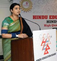 Smriti Irani addressing the participants at the World Hindu Congress 2014
