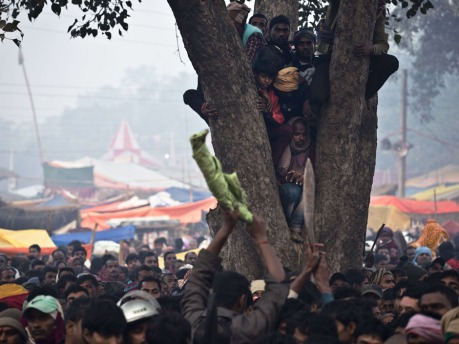Hindu devotees attending celebrations of the Gadhimai festival watch butchers brandish khukris (traditional Nepalese knives) from a tree, in an effort to get a better view of the first sacrifices, in the village of Bariyapur on November 27, 2014. Millions of Hindu devotees from Nepal and India migrate to the village to honour their goddess of power. The celebrations includes the slaughtering of hundreds of thousands of animals, mostly buffalo and goats. Worshippers have spent days sleeping out in the open and offering prayers to the goddess at a temple decked with flowers in preparation.   AFP PHOTO/ROBERTO SCHMIDTROBERTO SCHMIDT/AFP/Getty Images