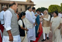 Narendra Modi with ministers at Parliament House