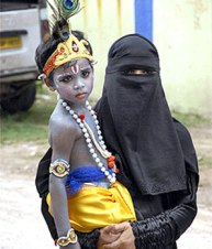 Muslim mother with son on Janamashtami