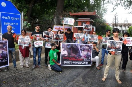 Protest at Nepalese Embassy in New Delhi
