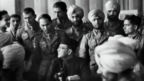 Subash Chandra Bose with his Indian National Army