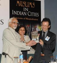 "The Vice President, Shri Mohd. Hamid Ansari, releasing the book entitled ""Muslims in Indian Cities"", edited by Laurent Gayer and Christophe Jaffrelot, in New Delhi on September 10, 2012."