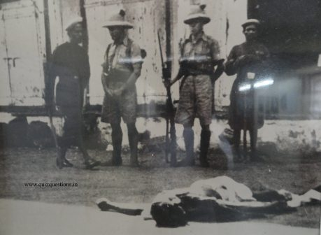 Gandhi's body after assassination on 30 January 1948 before the evening prayer at 5:17 pm.
