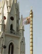 San Thome Cathedral with flag pole (dhavajastambha) as found in Hindu temples.