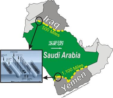 Saudi Border Fences With Iraq & Yemen
