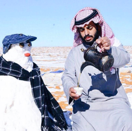 Saudi with Snow Man