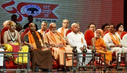 RSS chief Mohan Bhagwat with leaders and spiritual guru's celebrate Vishwa Hindu Parishad (VHP) 50 years on the occasion of Krishna Janamashtami in Mumbai in 2014.