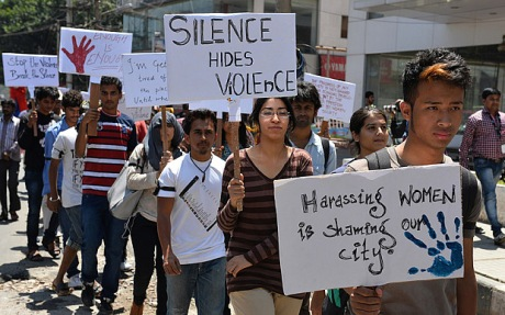 Indian students participate in a silent march urging the Indian government to lift the ban on the documentary film 'India's Daughter', in Bangalore on March 13, 2015. The students appealed to the government that banning the documentary by film maker Leslee Udwin was not justified as it throws light on the mindset of a sector of people which blame women for everything including rape.  AFP PHOTO / Manjunath KIRANManjunath Kiran/AFP/Getty Images