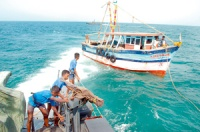 The SL Navy rescues a crippled Indian fishing trawler off the coast of Delft Island
