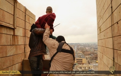 IS about to throw gay man off high building in Mosul