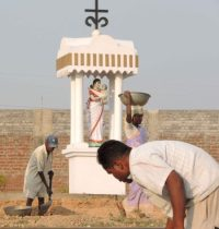 Mother Mary in tribal uniform in Singhpur Catholic Church at Ranchi