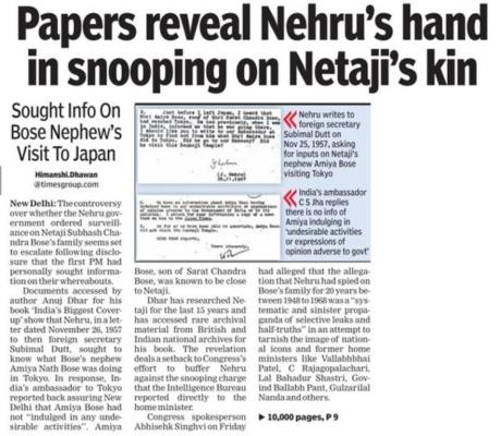 Nehru snooped on Netaji's family