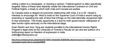 Embassy news item attached to  UT IHRP letter to PM Harper