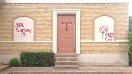 Old Lake Highlands Hindu temple vandalised with Satanic graffiti in north Texas.