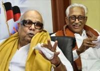 DMK President M. Karunanidhi with party General Secretary K. Anbazhagan