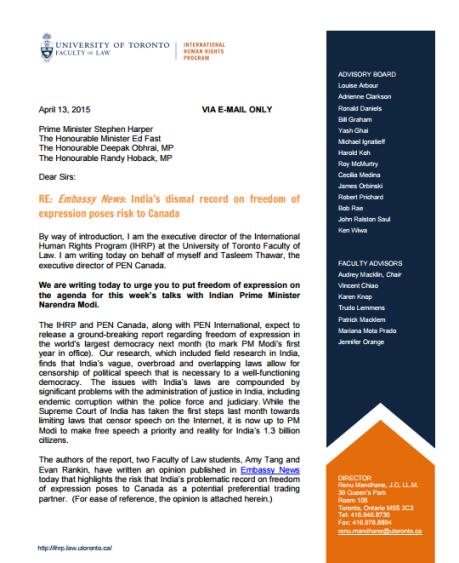 UT IHRP Letter to PM Harper - 1