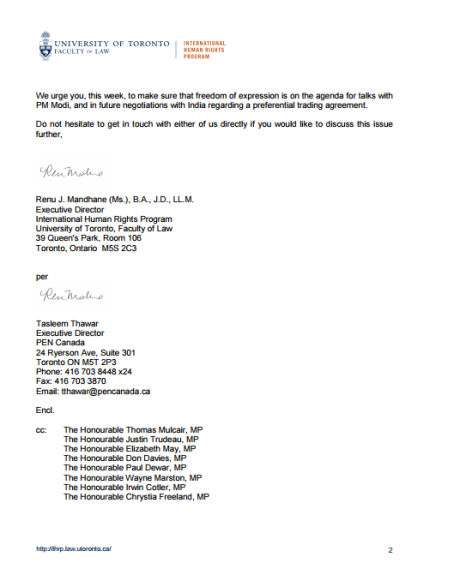 UT IHRP Letter to PM Harper - 2
