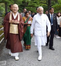 Narendra Modi visiting the Kinkaku-ji (Golden Pavilion) Temple in Kyoto, Japan on August 31, 2014.