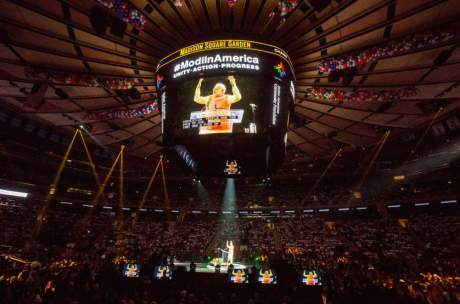 India's Prime Minister Narendra Modi speaks at Madison Square Garden in New York, during his visit to the United States, September 28, 2014. REUTERS/Lucas Jackson (UNITED STATES - Tags: POLITICS)