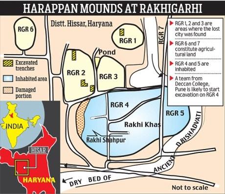 Rakhigarhi Dig Siteplan