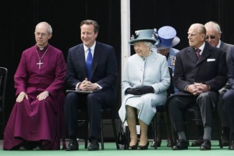 Archbishop Justin Welby, Prime Minister David Cameron, Queen Elizabeth II & Prince Philip attend Magna Carta signing anniversary ceremony at Runnymede on June 15, 2015