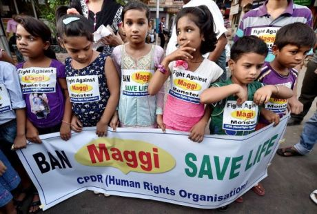 Children protest against Maggi in Kolkata on 4th June 2015