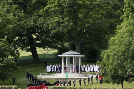 Soldiers stand next to the Magna Carta memorial during an event marking the 800th anniversary of the Magna Carta signing by King John at Runnymede, near London, England, June 15, 2015.