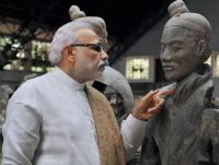 Narendra Modi during his visit to Terracotta Warriors Museum, in Xi'an, China