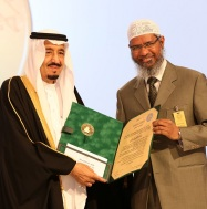 A handout picture released by the King Faisal Foundation on March 1, 2015 shows Saudi King Salman bin Abdul Aziz (L) presenting Zakir Naik, president of the Islamic Research Foundation in India, with the 2015 King Faisal International Prize for Service to Islam in Riyadh. Naik was honoured for being one of the most renowned non-Arabic speaking promoters of Islam. He founded the Peace TV channel, billed as the world's only channel specialising in comparative religion.