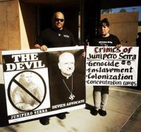 Protest against the canonization of Spanish missionary of Junípero Serra in California