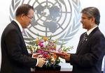 Asoke Kumar Mukerji & Ban Ki-moon