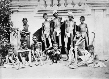 Starving men and boys during the famine of 1876-78 in Bangalore
